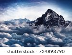 a majestic  snow capped rugged... | Shutterstock . vector #724893790
