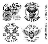 set of vintage emblems  logos ... | Shutterstock .eps vector #724894738