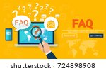 faq website banner. vector... | Shutterstock .eps vector #724898908