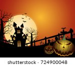 spooky forest with dead trees... | Shutterstock .eps vector #724900048