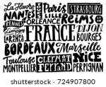 cities of france. hand drawn... | Shutterstock .eps vector #724907800
