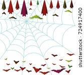 halloween background. spiderweb ...   Shutterstock .eps vector #724917400