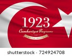 republic day of turkey national ... | Shutterstock .eps vector #724924708