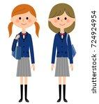 high school girls | Shutterstock .eps vector #724924954