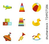 kid toys icons set. flat set of ... | Shutterstock . vector #724927186