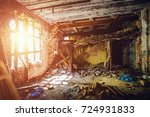 inside ruined abandoned house... | Shutterstock . vector #724931833