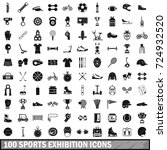 100 sports exhibition icons set ... | Shutterstock . vector #724932520