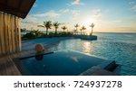 luxury swimming pool near beach ... | Shutterstock . vector #724937278