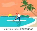 a woman practicing yoga on the... | Shutterstock .eps vector #724938568