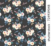 seamless floral pattern with... | Shutterstock . vector #724939048