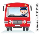 cheerful bus driver | Shutterstock .eps vector #724950310