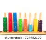 colorful wooden fraction bars...   Shutterstock . vector #724952170