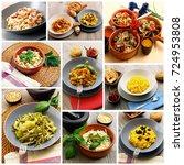 collage of original italian... | Shutterstock . vector #724953808
