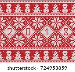 new year 2018 design. fair isle ... | Shutterstock .eps vector #724953859