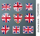 united kingdom flag set... | Shutterstock .eps vector #724955590