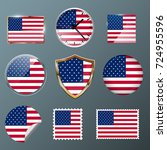 usa flag set collection in... | Shutterstock .eps vector #724955596