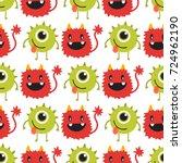 funny cartoon monster cute... | Shutterstock .eps vector #724962190