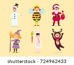 cute kids wearing christmas... | Shutterstock .eps vector #724962433
