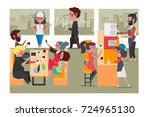 people in the coffee shop ... | Shutterstock .eps vector #724965130