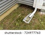 dirty rain downspout and gutter ... | Shutterstock . vector #724977763