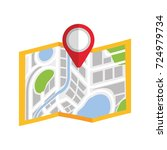map navigation gps with pointer ... | Shutterstock .eps vector #724979734