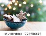 gingerbread cookies in blue...   Shutterstock . vector #724986694