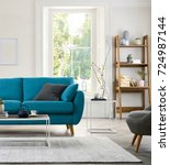 Small photo of Beautiful living room with modern sofa
