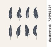 set of vector feathers | Shutterstock .eps vector #724988839
