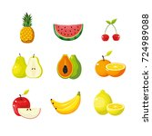 set delicious tropical and... | Shutterstock .eps vector #724989088