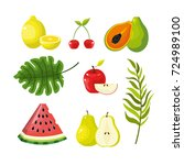 set delicious tropical and... | Shutterstock .eps vector #724989100