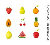 set delicious tropical and... | Shutterstock .eps vector #724989148
