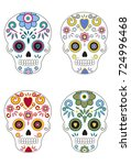 mexican day of the dead sugar...   Shutterstock .eps vector #724996468