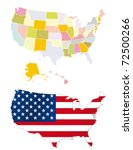 usa map. detailed map. each is... | Shutterstock .eps vector #72500266