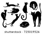black cat icon element set for... | Shutterstock .eps vector #725019526