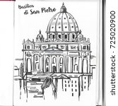 st. peter's cathedral  rome ... | Shutterstock . vector #725020900