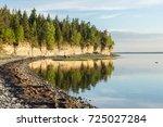 sunset on the beach. limestone... | Shutterstock . vector #725027284