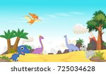 cute dinosaurs cartoon with... | Shutterstock .eps vector #725034628