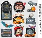 halloween party emblems with... | Shutterstock .eps vector #725035909