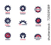 set of gear wheel icons and... | Shutterstock .eps vector #725039389