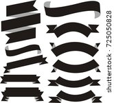 black banner ribbon vector set... | Shutterstock .eps vector #725050828