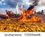 barge burning ritual at bagan... | Shutterstock . vector #725056648