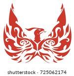 round the emblem of a phoenix...   Shutterstock .eps vector #725062174
