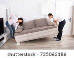 young woman having backpain... | Shutterstock . vector #725062186