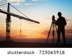 Silhouette Of A Surveyor...