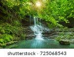 beautiful mountain rainforest... | Shutterstock . vector #725068543