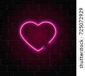 bright heart. neon sign. retro... | Shutterstock .eps vector #725072929