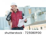 middle aged caucasian man on... | Shutterstock . vector #725080930