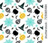 vector halloween seamless...   Shutterstock .eps vector #725085484