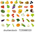 cartoon set of healthy food.... | Shutterstock . vector #725088520