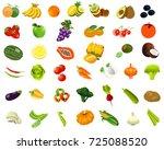 cartoon set of healthy food.... | Shutterstock . vector #725088520